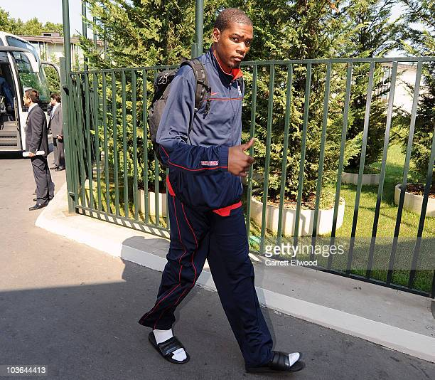 Kevin Durant of the USA Senior Men's National Team arrives for the 2010 World Championships of Basketball on August 26 2010 in Istanbul Turkey NOTE...
