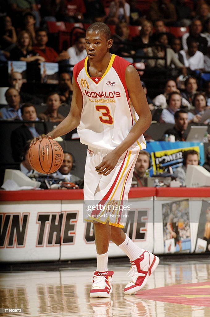 Kevin Durant of the West moves the ball against the East during the 2006 McDonald's All American High School Basketball game at Cox Arena on March 29...