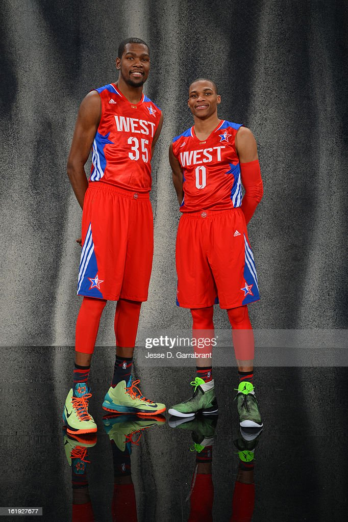 Kevin Durant #35 of the Western Conference All-Star Team and Russell Westbrook #0 of the Western Conference All-Star Team poses for portraits prior to the 2013 NBA All-Star Game at Toyota Center on February 17, 2013 in Houston, Texas.