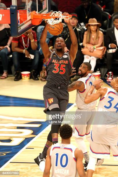 Kevin Durant of the Western Conference AllStar Team dunks the ball during the NBA AllStar Game as part of the 2017 NBA All Star Weekend on February...