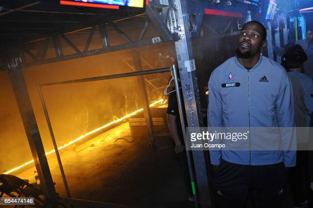 Kevin Durant of the Western Conference AllStar Team poses for a photo before the 2017 NBA AllStar Game on February 19 2017 at the Smoothie King...