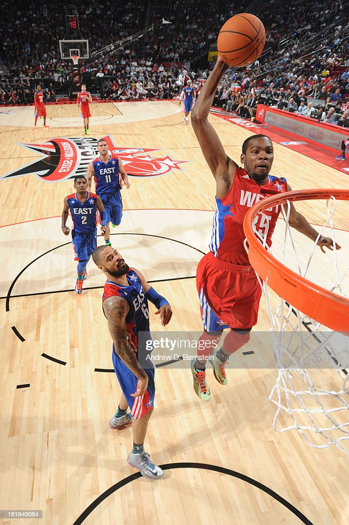 Kevin Durant #35 of the Western Conference All-Stars attempts a dunk during the 2013 NBA All-Star Game on February 17, 2013 at Toyota Center in Houston, Texas.