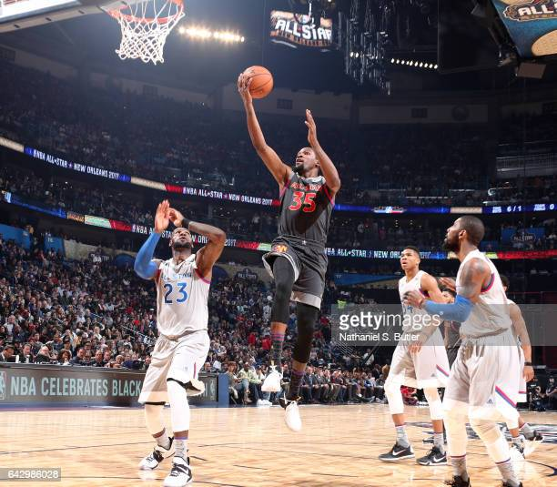 Kevin Durant of the Western Conference AllStars dunks during the NBA AllStar Game as part of the 2017 NBA All Star Weekend on February 19 2017 at the...