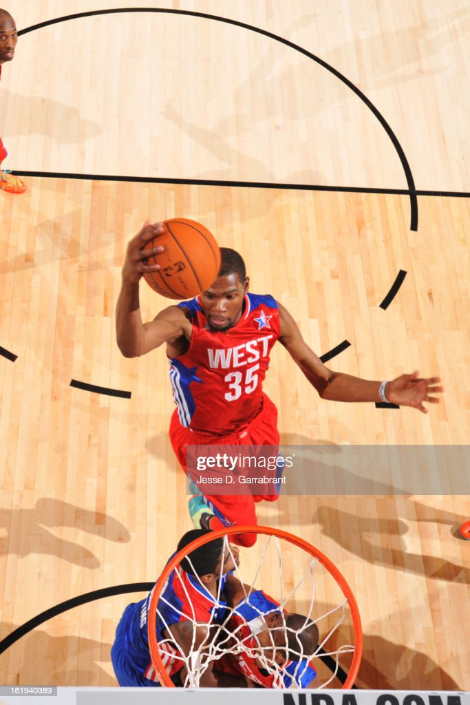 Kevin Durant #35 of the Western Conference All-Stars goes up for a dunk against the Eastern Conference All-Stars during 2013 NBA All-Star Game on February 17, 2013 at the Toyota Center in Houston, Texas.