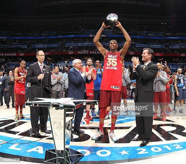 Kevin Durant of the Western Conference AllStars with his Kia MVP trophy after the 2012 NBA AllStar Game presented by Kia Motors as part of 2012...