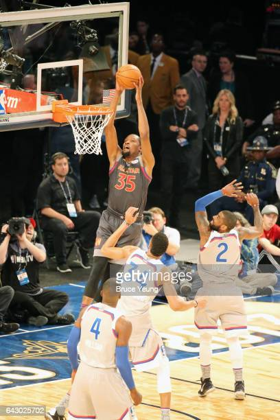 Kevin Durant of the Western Conference dunks during the NBA AllStar Game as part of the 2017 NBA All Star Weekend on February 19 2017 at the Smoothie...