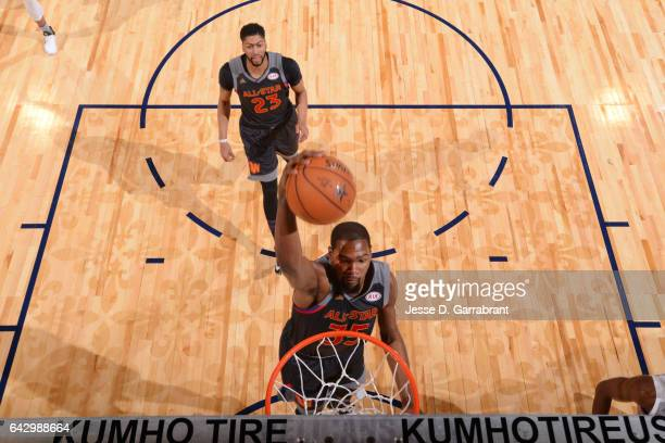 Kevin Durant of the Western Conference goes up for a dunk during the NBA AllStar Game as part of the 2017 NBA All Star Weekend on February 19 2017 at...
