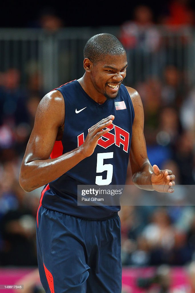 Kevin Durant #5 of United reacts after a play against Argentina during the Men's Basketball Preliminary Round match on Day 10 of the London 2012 Olympic Games at the Basketball Arena on August 6, 2012 in London, England.