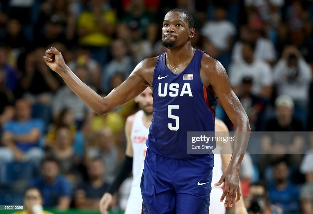 Kevin Durant of United States celebrates a play against Spain during the Men's Semifinal match on Day 14 of the Rio 2016 Olympic Games at Carioca...