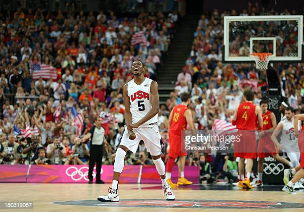 Kevin Durant of United States celebrates during the Men's Basketball gold medal game against Spain on Day 16 of the London 2012 Olympics Games at...