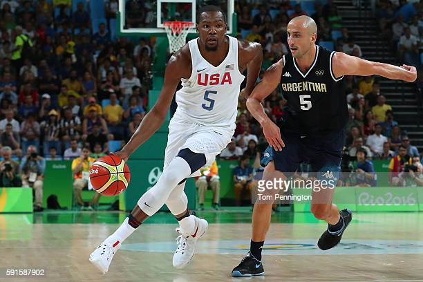 Kevin Durant of United States drives on Manu Ginobili of Argentina during the Men's Basketball Quarterfinal game at Carioca Arena 1 on Day 12 of the...