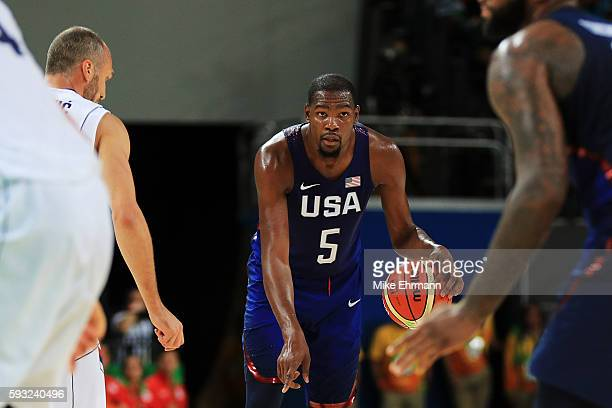 Kevin Durant of United States drives the ball up the court against Serbia during the Men's Gold medal game on Day 16 of the Rio 2016 Olympic Games at...