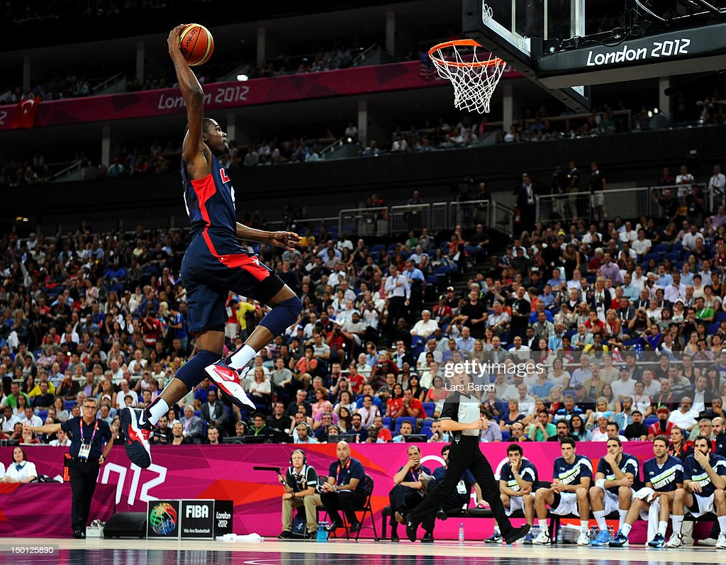 Kevin Durant #5 of United States goes up for a dunk in the first half against Argentina during the Men's Basketball semifinal match on Day 14 of the London 2012 Olympic Games at the North Greenwich Arena on August 10, 2012 in London, England.