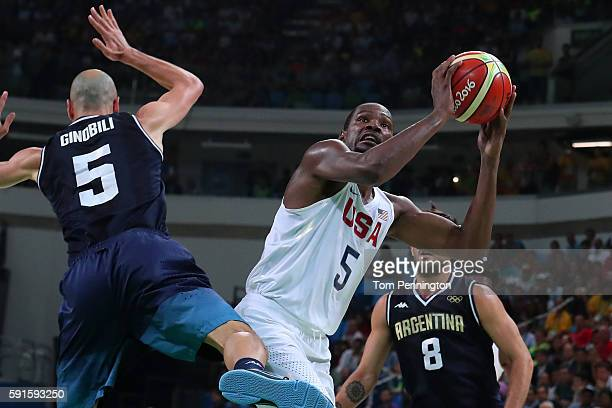 Kevin Durant of United States goes up for a shot against Manu Ginobili of Argentina during the Men's Basketball Quarterfinal game at Carioca Arena 1...