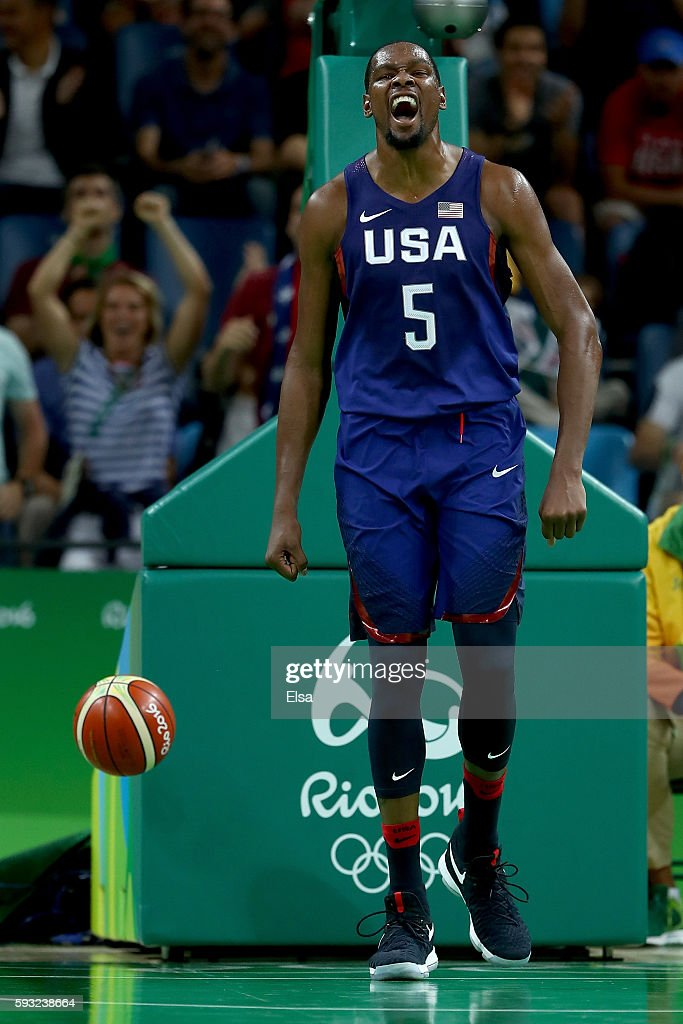 Kevin Durant of United States reacts after a play against Serbia during the Men's Gold medal game on Day 16 of the Rio 2016 Olympic Games at Carioca...
