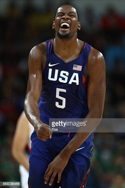 Kevin Durant of United States reacts against Serbia during the Men's Gold medal game on Day 16 of the Rio 2016 Olympic Games at Carioca Arena 1 on...