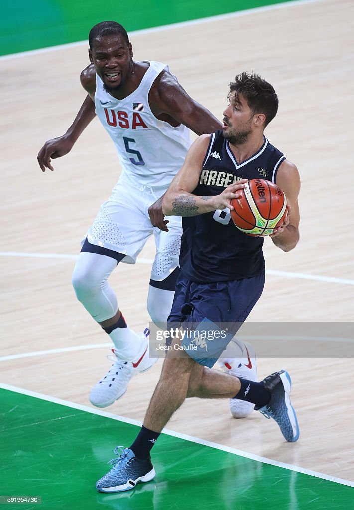 Kevin Durant of USA and Nicolas Laprovittola of Argentina in action during the Men's Quarterfinal basketball match between USA and Argentina on day...