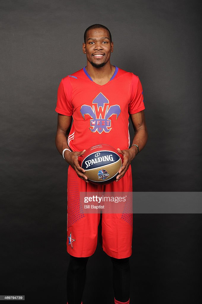 Kevin Durant #35 of Western Conference All-Stars poses for a portrait prior to the of the 2014 NBA All-Star Game on February 16, 2014 at the Smoothie King Center in New Orleans, Louisiana.