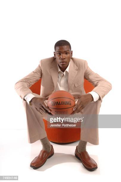 Kevin Durant poses for a portrait during media availability for the 2007 NBA Draft June 27 2007 at The Westin Hotel Times Square in New York City...