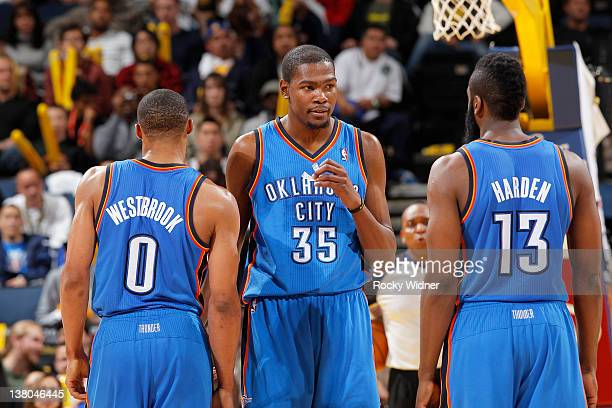 Kevin Durant Russell Westbrook and James Harden of the Oklahoma City Thunder in a game against the Golden State Warriors on January 27 2012 at Oracle...