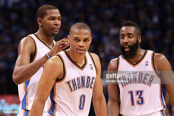 Kevin Durant Russell Westbrook and James Harden of the Oklahoma City Thunder stand together in the second half while taking on the San Antonio Spurs...
