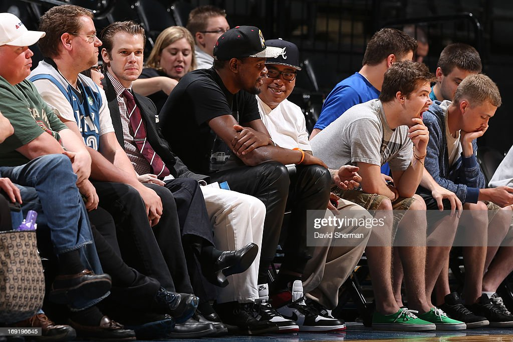 Kevin Durant sits court side during the WNBA pre-season game of the Minnesota Lynx vs the Connecticut Sun on May 21, 2013 at Target Center in Minneapolis, Minnesota.