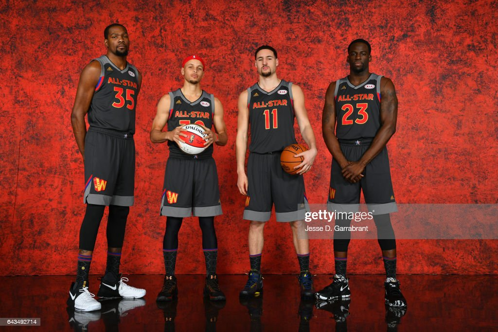 Kevin Durant #35, Stephen Curry #30, Klay Thompson #11 and Draymond Green #23 of the of the Western Conference All-Star Team pose for a portrait during the NBA All-Star Game as part of 2017 All-Star Weekend at the Smoothie King Center on February 19, 2017 in New Orleans, Louisiana.