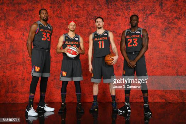Kevin Durant Stephen Curry Klay Thompson and Draymond Green of the of the Western Conference AllStar Team pose for a portrait during the NBA AllStar...