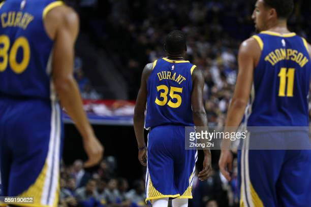 Kevin Durant Stephen Curry Klay Thompson of the Golden State Warriors during the game between the Minnesota Timberwolves and the Golden State...