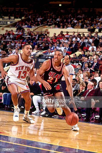 Kevin Edwards of the Miami Heat drives to against the New York Knicks during a 1990 NBA game at Madison Square Garden in New York New York NOTE TO...