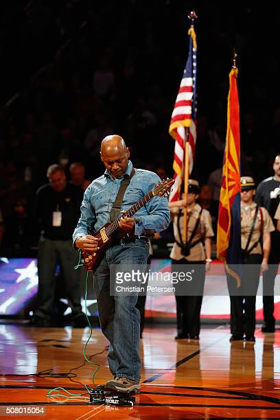 Kevin Eubanks of The Tonight Show Band performs the national anthem before the NBA game between the Phoenix Suns and the San Antonio Spurs at Talking...