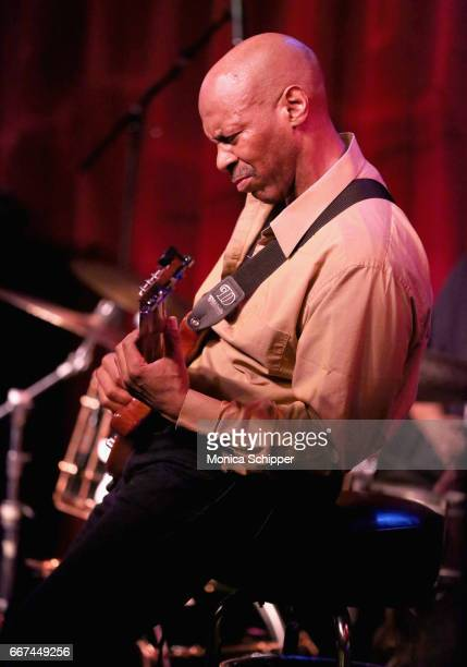 Kevin Eubanks performs onstage during Kevin Eubanks' 'East West Time Line' album release party at Birdland Jazz Club on April 11 2017 in New York City