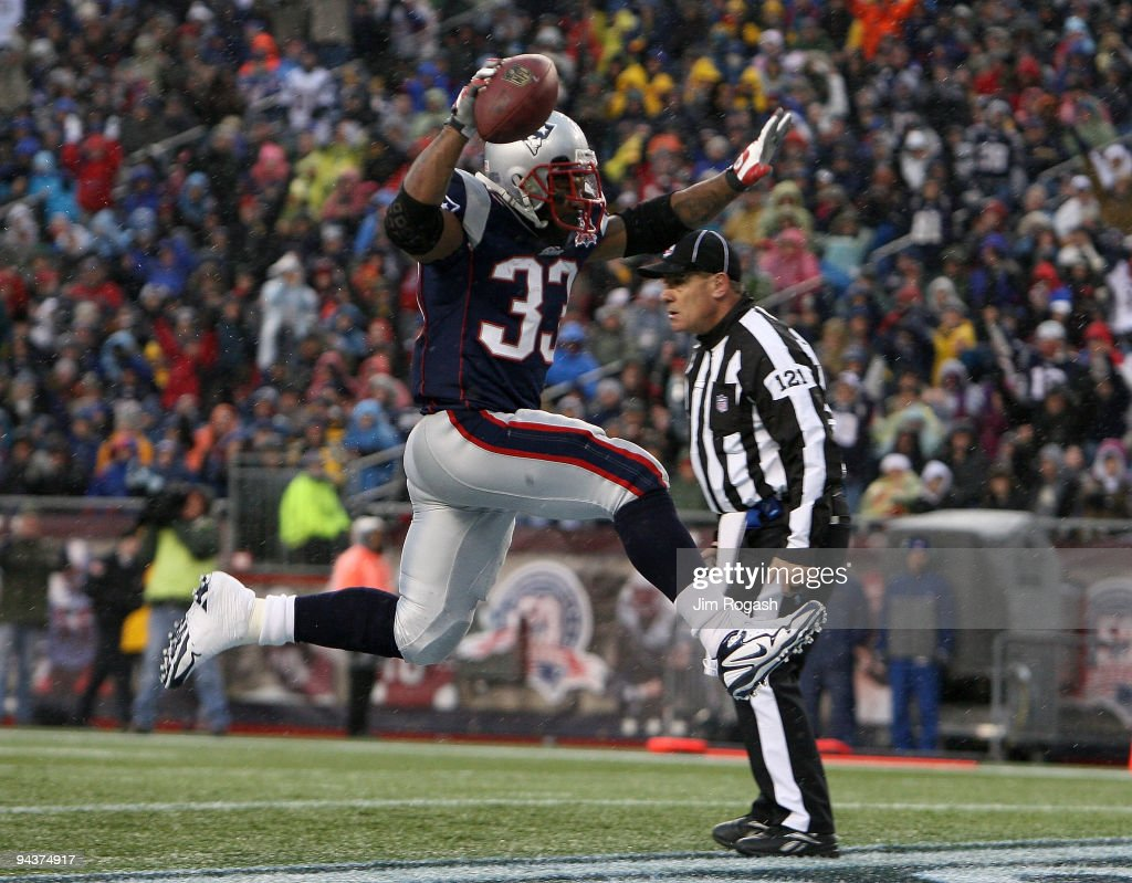 Kevin Faulk #33 of the New England Patriots scores a 3-yard rushing touchdown in the second quarter against the Carolina Panthers at Gillette Stadium on December 13, 2009 in Foxboro, Massachusetts.