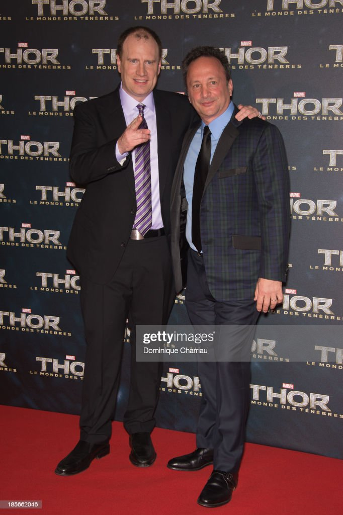 <a gi-track='captionPersonalityLinkClicked' href=/galleries/search?phrase=Kevin+Feige&family=editorial&specificpeople=2262351 ng-click='$event.stopPropagation()'>Kevin Feige</a> and Louis d'Esposito attend the 'Thor: The Dark World' Paris Premiere at Le Grand Rex on October 23, 2013 in Paris, France.