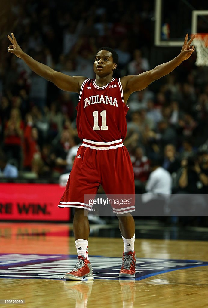 Kevin Ferrell #11 of the Indiana Hoosiers celebrates his basket in the first half against the Georgetown Hoyas during the Championship Game of the Legends Classic on November 20,2012 at the Barclays Center in the Brooklyn borough of New York City.