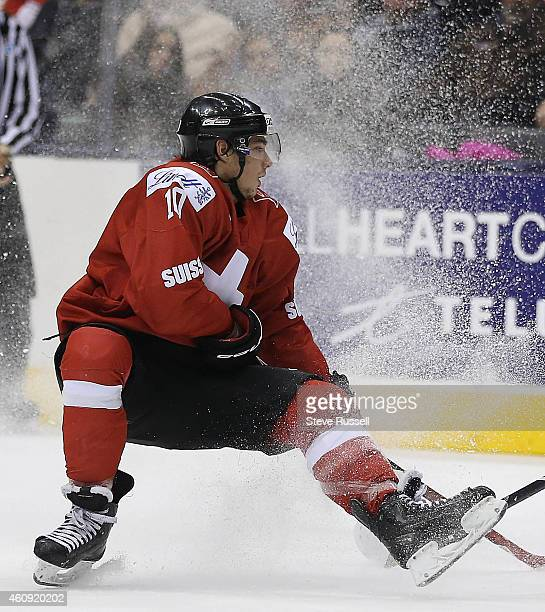 TORONTO ON DECEMBER 30 Kevin Fiala loses an edge as Denmark beats Switzerland in a shoot out 43 in the round robin of the IIHF World Junior Hockey...