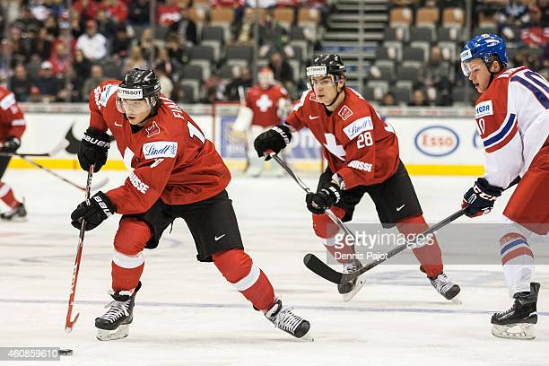 Kevin Fiala of Switzerland moves the puck against Czech Republic during the 2015 IIHF World Junior Championship on December 27 2014 at the Air Canada...