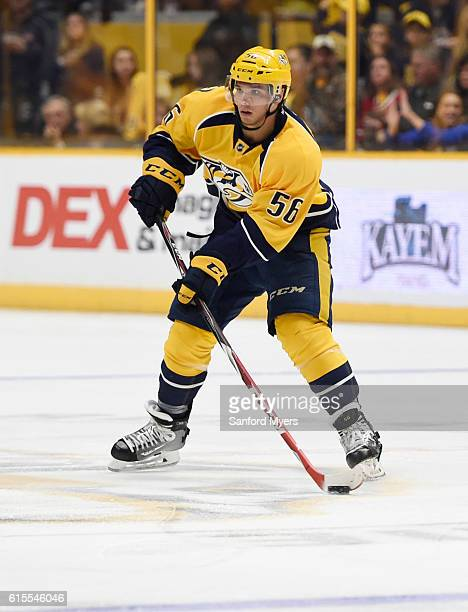 Kevin Fiala of the Nashville Predators against the Chicago Blackhawks at Bridgestone Arena on October 14 2016 in Nashville Tennessee