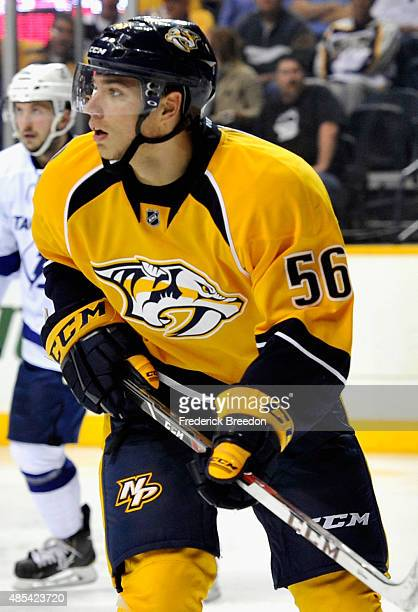 Kevin Fiala of the Nashville Predators plays against the Tampa Bay Lightning during the preseason game at Bridgestone Arena on September 25 2014 in...