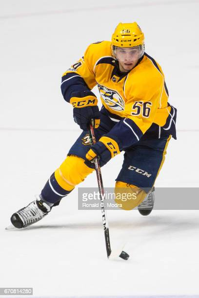 Kevin Fiala of the Nashville Predators skates against the Chicago Blackhawks in Game Three of the Western Conference First Round during the 2017 NHL...