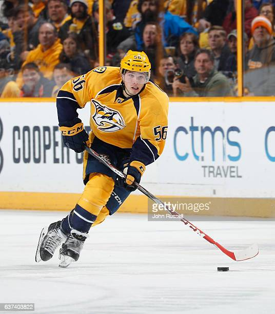 Kevin Fiala of the Nashville Predators skates against the Chicago Blackhawks during an NHL game at Bridgestone Arena on December 29 2016 in Nashville...