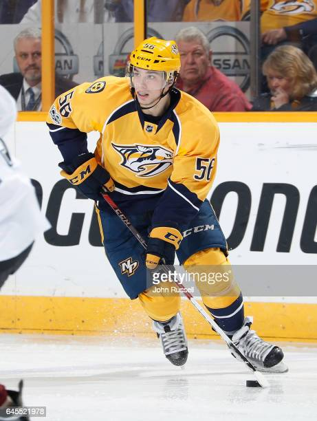 Kevin Fiala of the Nashville Predators skates against the Colorado Avalanche during an NHL game at Bridgestone Arena on February 23 2017 in Nashville...