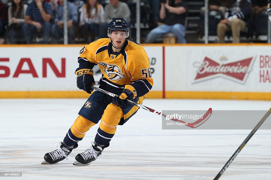 Kevin Fiala #56 of the Nashville Predators skates in his first NHL game during a game against the Montreal Canadiens at Bridgestone Arena on March 24, 2015 in Nashville, Tennessee.