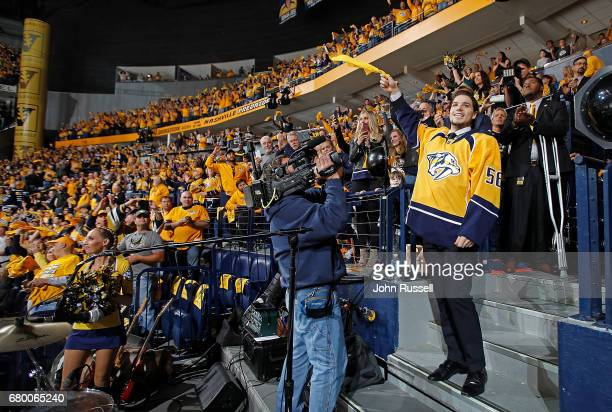 Kevin Fiala of the Nashville Predators waves the towel prior to Game Six of the Western Conference Second Round against the St Louis Blues during the...