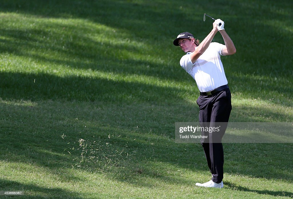 Kevin Foley plays a shot from the fairway on the 10th hole during the third round of the Wyndham Championship at Sedgefield Country Club on August 16, 2014 in Greensboro, North Carolina.