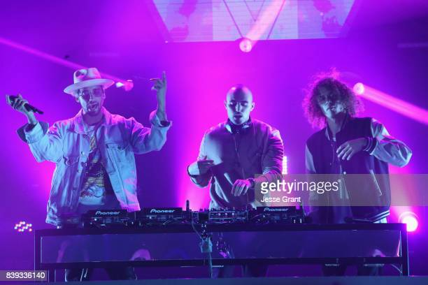 Kevin Ford Matthew Russell and Trevor Dahl of Cheat Codes perform onstage during MTV Presents 'VMA Weekend' at Avalon on August 25 2017 in Hollywood...