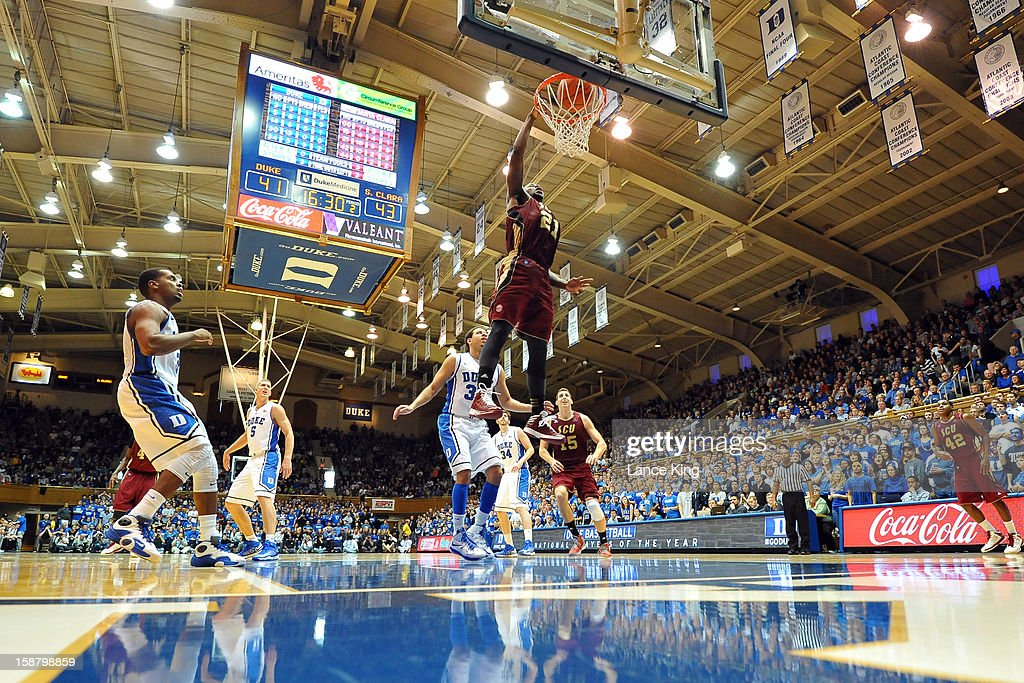 Kevin Foster #21 of the Santa Clara Broncos goes up for a dunk against the Duke Blue Devils at Cameron Indoor Stadium on December 29, 2012 in Durham, North Carolina. Duke defeated Santa Clara 90-77.