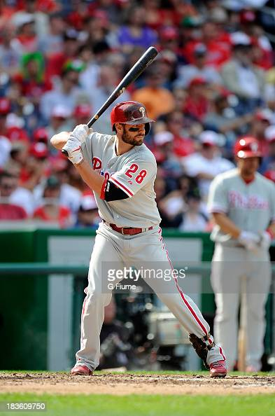 Kevin Frandsen of the Philadelphia Phillies bats against the Washington Nationals at Nationals Park on September 15 2013 in Washington DC