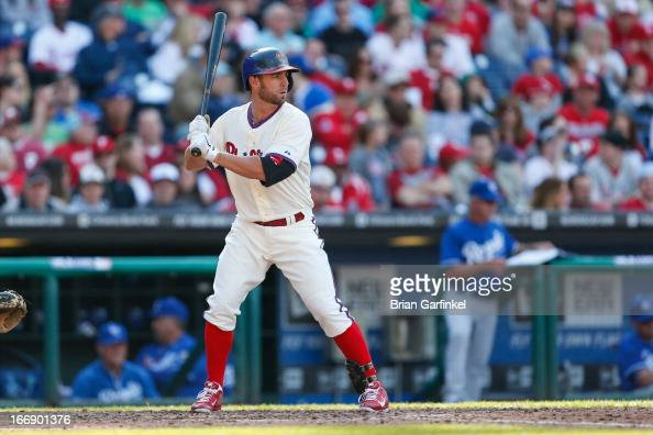 Kevin Frandsen of the Philadelphia Phillies bats during the game against the Kansas City Royals at Citizens Bank Park on April 7 2013 in Philadelphia...