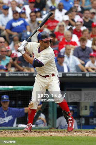 Kevin Frandsen of the Philadelphia Phillies during a game against the Los Angeles Dodgers at Citizens Bank Park on August 18 2013 in Philadelphia...